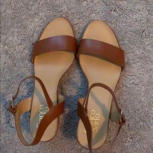 Franco Sarto Brown Strappy Wedge 1.5 inch Heels